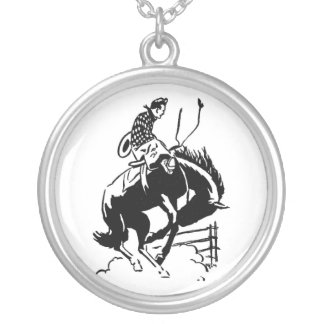 Country Retro Rodeo Cowboy Bronc Rider Necklace