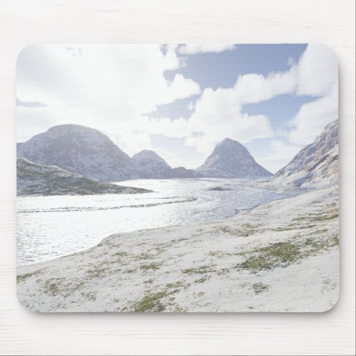 Country river winter mouse mat