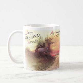 Country Road at Dusk Vintage Christmas Coffee Mug