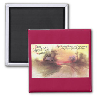 Country Road at Dusk Vintage Christmas 2 Inch Square Magnet