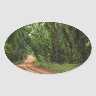 Country Road Background Oval Sticker