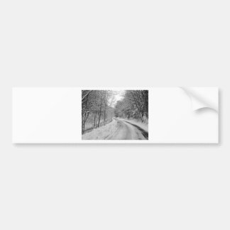 Country Road Black and white image with snow Bumper Sticker