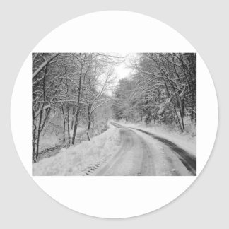 Country Road Black and white image with snow Classic Round Sticker