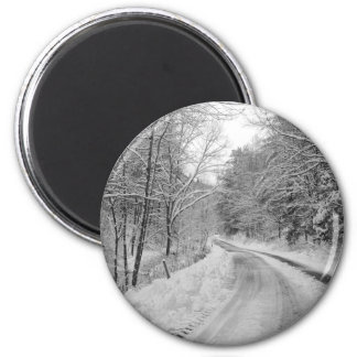 Country Road Black and white image with snow Magnet