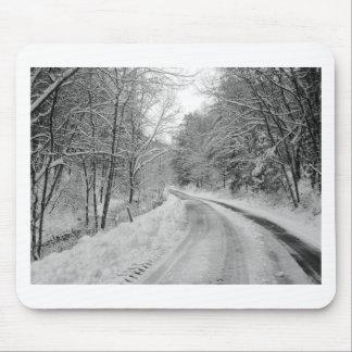 Country Road Black and white image with snow Mouse Pads