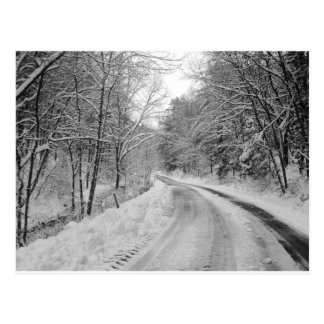 Country Road Black and white image with snow Postcard