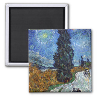 Country road in Provence by night by van Gogh 2 Inch Square Magnet