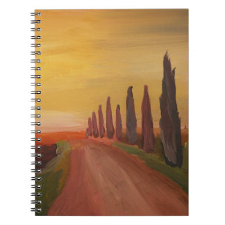 Country Road In Tuscany Italy At Sunset Spiral Notebook