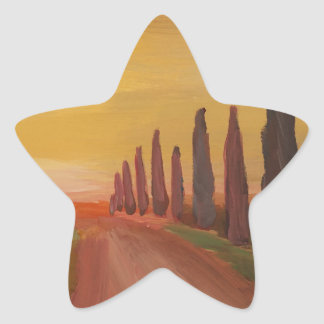 Country Road In Tuscany Italy At Sunset Star Sticker