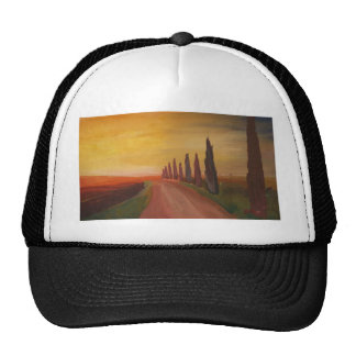 Country Road In Tuscany Italy At Sunset Trucker Hat