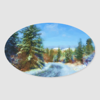 Country Road in Winter Oval Sticker