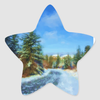 Country Road in Winter Star Sticker