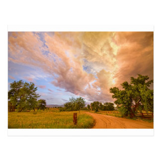 Country Road Into The Storm Front Postcard