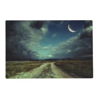 Country road leading to the church laminated placemat