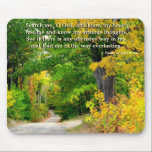 "Country Road Scripture Mouse Pad<br><div class=""desc"">Christian mouse pad with scripture. Autumn foliage of yellow lines a country road in this photo with added scripture from Psalm 139 which reads, &quot; Search me, O God, and know my heart; test me and know my anxious thoughts. See if there is any offensive way in me, and lead...</div>"