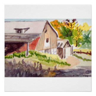 COUNTRY ROAD WATERCOLOR ON CANVAS POSTER