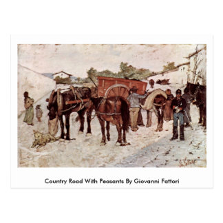 Country Road With Peasants By Giovanni Fattori Postcard