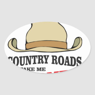 country roads take me home dude oval sticker