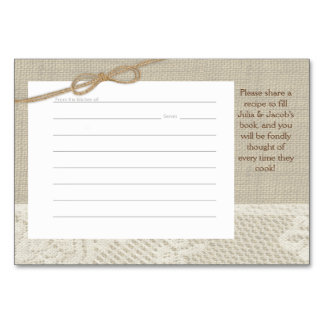 Country Romance Burlap and Lace Recipe Cards Table Cards