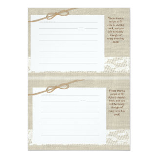 Country Romance Burlap Look Recipe Cards two 3 x 5