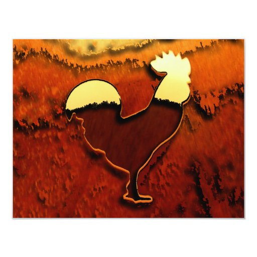 Country Rooster 4.25x5.5 Paper Invitation Card