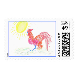 Country Rooster art by Wendy C. Allen Postage