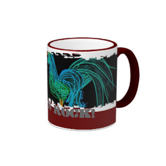 Country Rooster (Black) Coffee Mugs