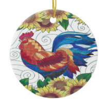 Country Rooster Ceramic Ornament