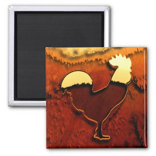 Country Rooster Fridge Magnet