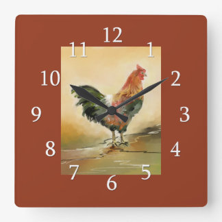 Country Rooster Kitchen Decor Square Wall Clock