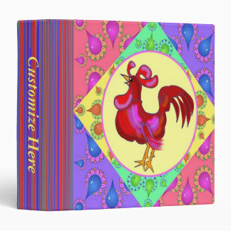 Country Rooster Recipe Book Template Vinyl Binders