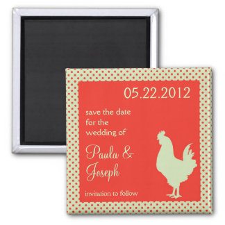 Country Rooster Save The Date Magnet