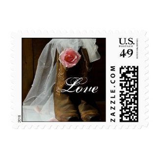 Country Rose and Cowboy Boots Love Wedding Postage