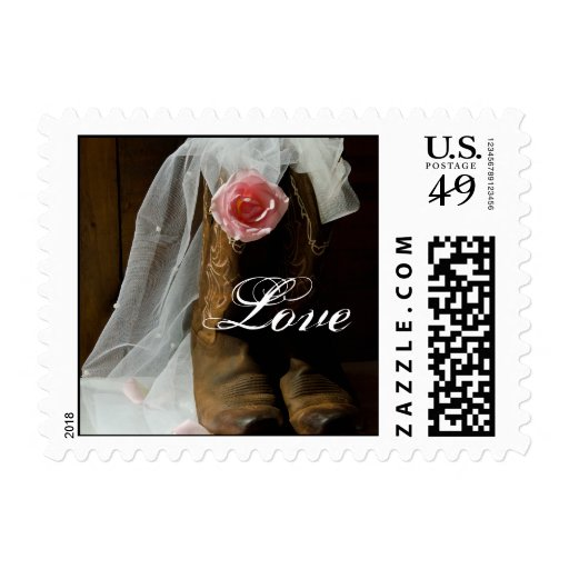 Country Rose and Cowboy Boots Love Wedding Postage Stamps
