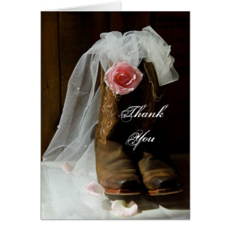 Country Rose and Cowboy Boots Wedding Thank You Card