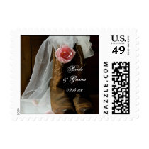 Country Rose and Cowboy Boots Western Wedding Postage