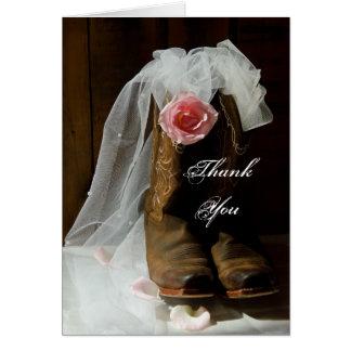 Country Rose Cowboy Boots Bridesmaid Thank You Card