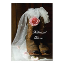 Country Rose Cowboy Boots Wedding Rehearsal Dinner Card