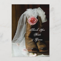 Country Rose Cowboy Boots Wedding Thank You Notes