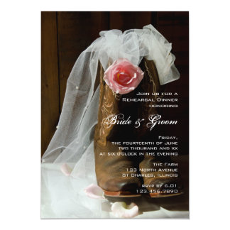 Country Rose Cowboy Boots Western Rehearsal Dinner Card