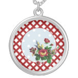 Country Roses Dots and Gingham Necklace Round