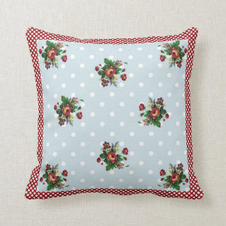 Country Roses Gingham and Dots Pillow