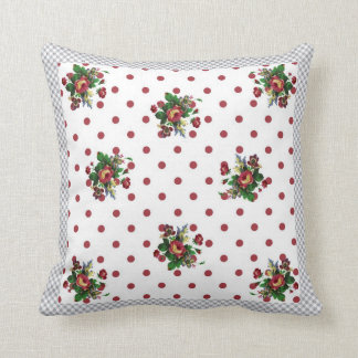 Country Roses Red Polka Dot and Roses Throw Pillow