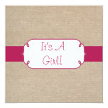 Country Ruby Pink and Beige Burlap Baby Shower Invitation