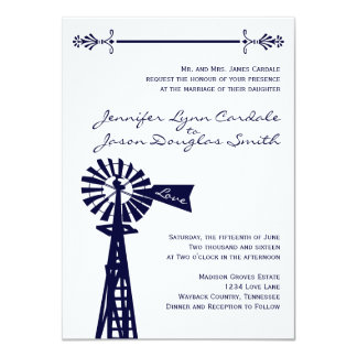 Country Rural Windmill Navy Wedding Invitations
