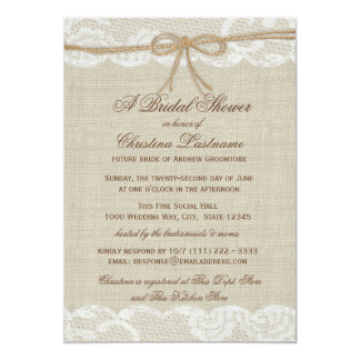 Country Rustic and Lace Wedding Bridal Shower Card