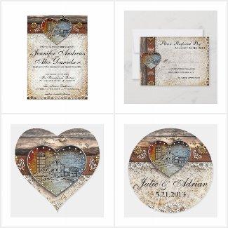 Country Rustic Barn Wedding Invitation Set