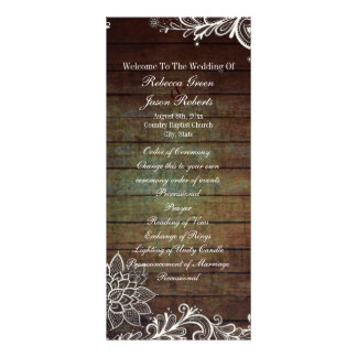 country rustic barnwood lace wedding program rack card template