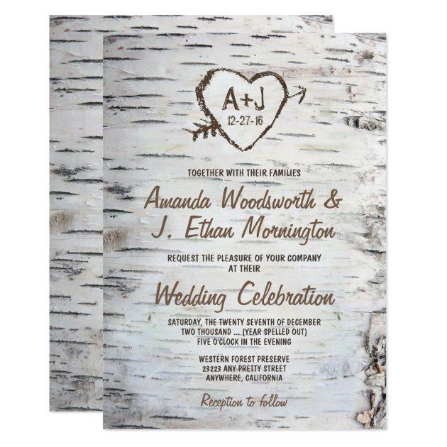 Country Rustic Birch Tree Bark Wedding Invitations | Zazzle