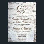 "Country Rustic Birch Tree Bark Wedding Invitations<br><div class=""desc"">Country Rustic Birch Tree Bark Wedding Invitations - features a printed birch bark front and back with a scratched carved heart that you can customize the initials to your own and underneath it,  your wedding date.</div>"